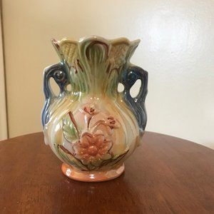 Vintage Handpainted Double Handle Vase